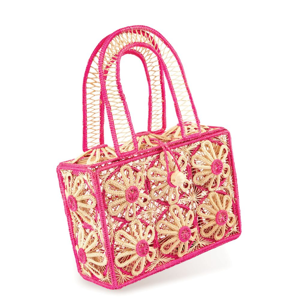 Perry Patchwork handmade raffia and straw handbag in pink, Photo by Michael Caronchi _210610_0792