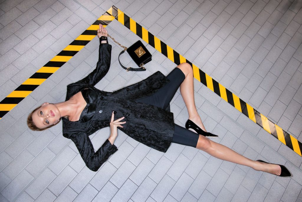 Dolce & Gabbana jacquard silk dress, elastic shorts, bra, handbag, heels, Photo by Navid